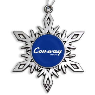 Bright Nickel Snowflake Ornaments with Custom Logo Print
