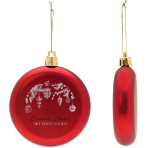 Flat Christmas Ornament - Round Shatter Resistant - Red