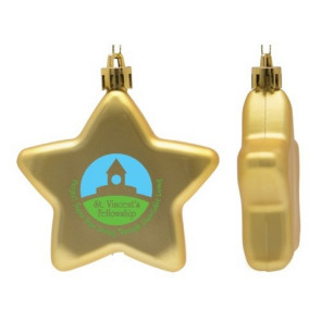 Flat Christmas Ornament - Star Shape Shatter Resistant - Gold