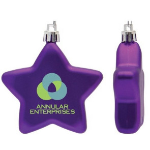 Flat Christmas Ornament - Star Shape Shatter Resistant - Purple