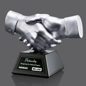 Shaking Hands Award - Silver Resin 6.5 in. Wide