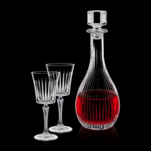 Bacchus Decanter and 2 Wine Glasses Engraved