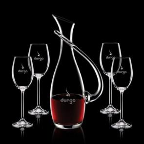 Uxbridge Carafe and 4 Wine Glasses Engraved