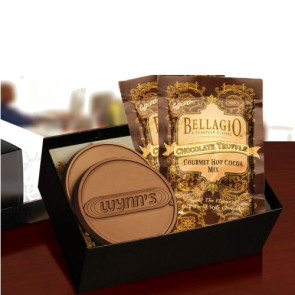 Chocolate Logo Cookies and Cocoa in Gift Box