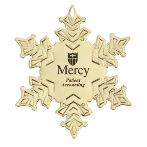 Golden Snowflake Shape Ornament with Imprint