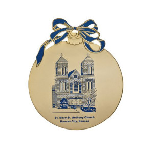 Gold Tone Holiday Ball Shape Ornament - Flat