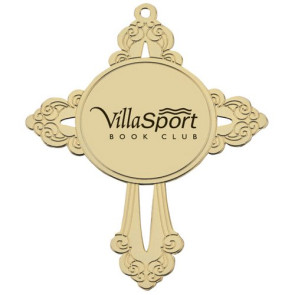 Cross - Golden Holiday Ornament with Imprint