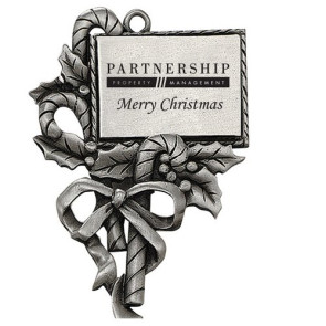 Pewter Finish Christmas Candy Cane Ornament