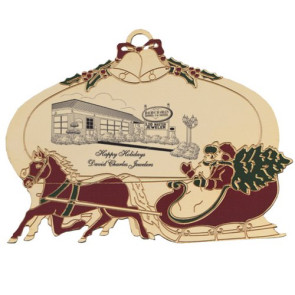 Ball Ornament with Sleigh and Horses with Imprint