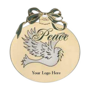 Peace with Dove - Christmas Ball Shaped Ornament