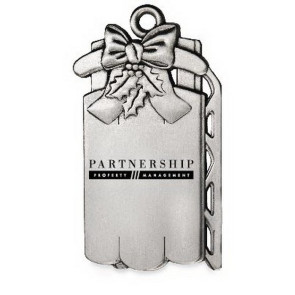 Sled Ornament with Pewter Finish and Imprint