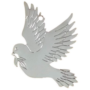 Silver Plated Dove Shaped Ornament with Imprint
