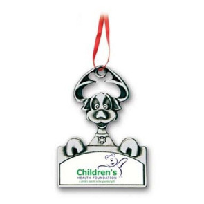 Happy Dog Metal Christmas Ornament with Custom Photo Art