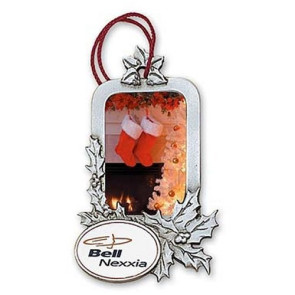 Holly Leaves Rectangle Photo Insert Ornament with Imprint