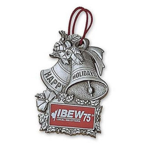 Solid Pewter 3D Silver Bells Christmas Ornament