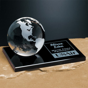 Continental Globe on Glass Base 4 in.