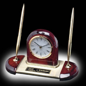 Alliston Clock/Pen Set - Rosewood/Gold