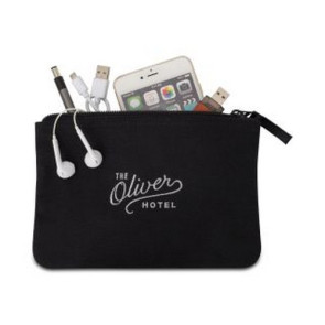 Avery Cotton Zippered Pouch Black