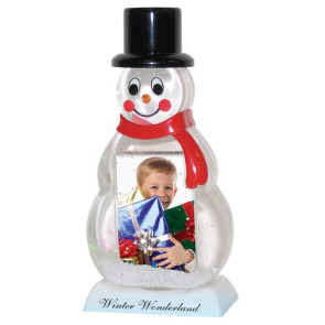Snowman Snow Globe with Custom Imprint and Photo Insert