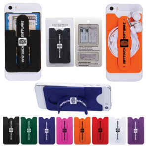 3-in-1 Cell Phone Card Holder w/Packaging