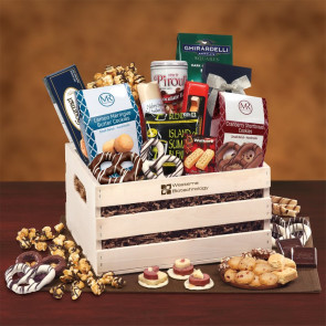 Classic Wooden Crate Gift Basket with Gourmet Foods