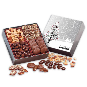 Gourmet Holiday Gift Box with Cardinals in Tree with Chocolates and Nuts
