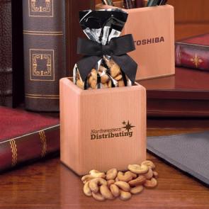 Hardwood Pen & Pencil Cup with Extra Fancy Jumbo Cashews