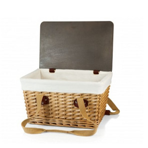 'Canasta' Wicker Basket, (Natural Willow with Brown Lid & Tan Lin