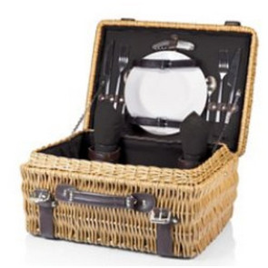 'Champion' Picnic Basket, (Black Lining & Napkins with Dark Brown