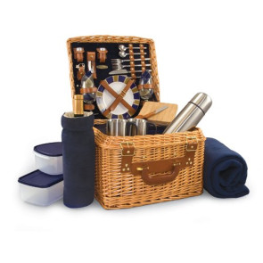 'Canterbury' Picnic Basket, (Navy with Plaid)