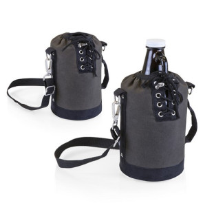 Insulated Grey & Black Growler Tote with 64-oz. Amber Glass Growl