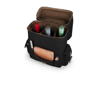 'Moreno' 3-Bottle Wine & Cheese Tote, (Black)