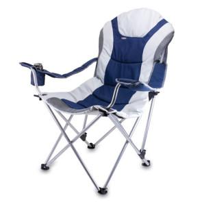 Reclining Camp Chair, (Navy & Grey)
