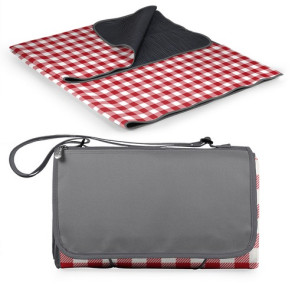 'Blanket Tote' Outdoor Picnic Blanket, (Red Check & Navy with Bla