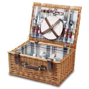 'Bristol' Picnic Basket, (Navy & Maroon Plaid)