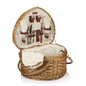'Heart' Picnic Basket, (Antique White)