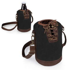 Insulated Growler Tote, (Black with Brown)
