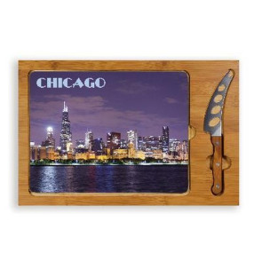 'Icon' Glass Top Serving Tray & Knife Set, (Chicago Design)