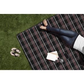 'Blanket Tote XL' Outdoor Picnic Blanket, (Black Tartan with Blac