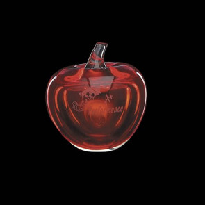 Red Apple Award Paperweight with Brass Leaf
