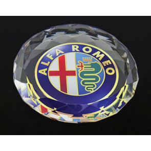 Deep Etched Faceted Circle Paperweight