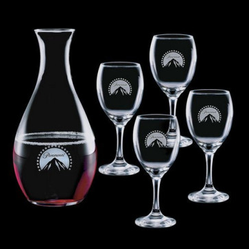 Riley Carafe and 4 Wine Glasses Engraved