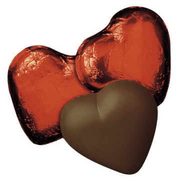 Dark Chocolate Hearts in Red Foil - Stock