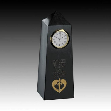Marble Clock - 6 in. Obelisk