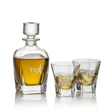 Chesswood Decanter and 2 On-the-Rocks