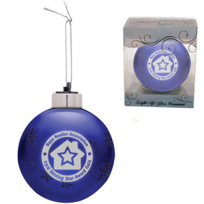 Custom Christmas Ornaments -Blue  Light-Up Glass Ornament