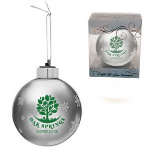 Custom Silver Light-Up Glass Christmas Ornaments