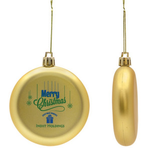 Flat Round Shatter Resistant Gold Christmas Ornament