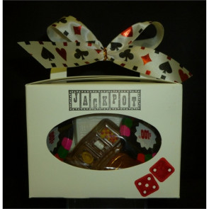 Casino Tote with Chocolate Dice, Roulette Wheel, Slot Machine