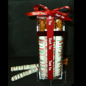 White Chocolate Dipped Pretzel Rods Gift Cube - Medium